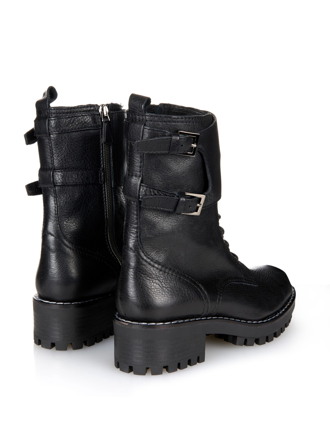 Red valentino Lace-Up Leather Combat Boots in Black | Lyst