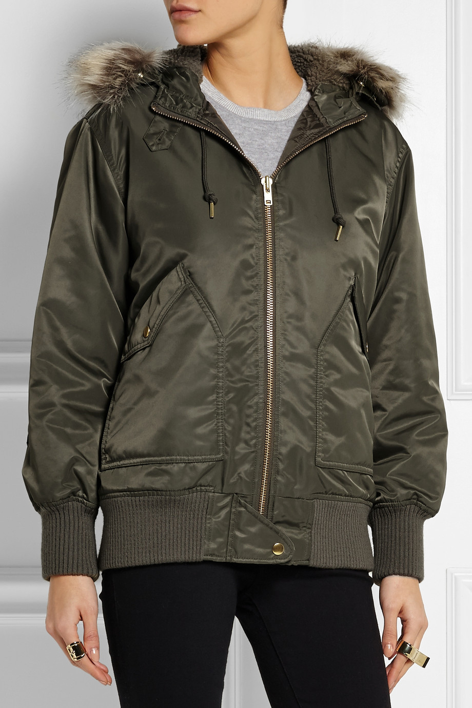 J Crew Faux Fur Trimmed Hooded Shell Bomber Jacket In