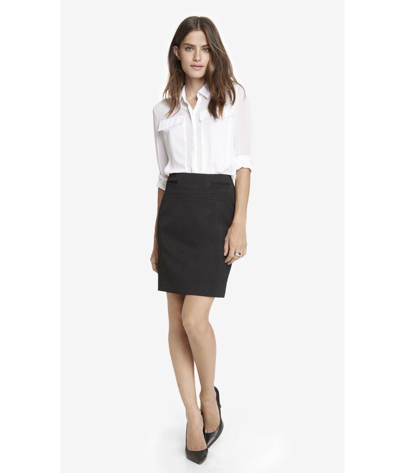 7a2c69c2f5e4 Lyst - Express Studio Stretch Welt Pocket Pencil Skirt in Black