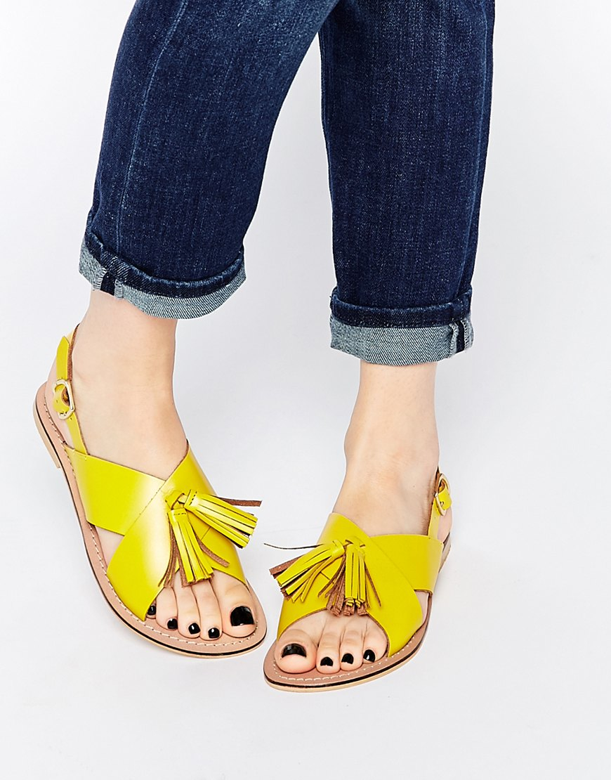 ce03d392c9fc4 Lyst - ASOS Foxtrot Leather Tassel Sandals in Yellow