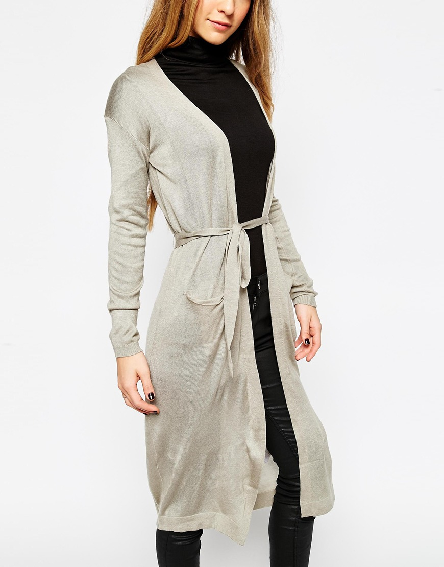 Warehouse Long Thin Belted Cardigan in Metallic | Lyst