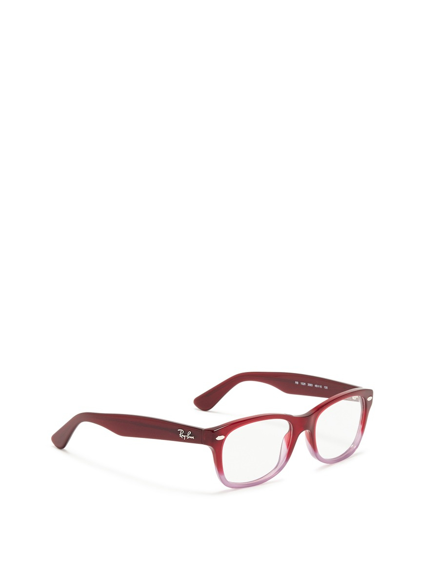 Lyst - Ray-Ban Junior Square Frame Ombré Acetate Optical Glasses in Red