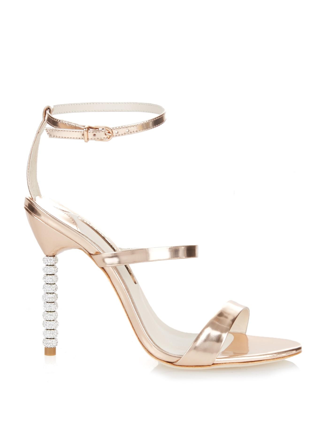 08a69074b06 Lyst - Sophia Webster Rosalind Crystal-Heel Metallic Leather Sandals ...