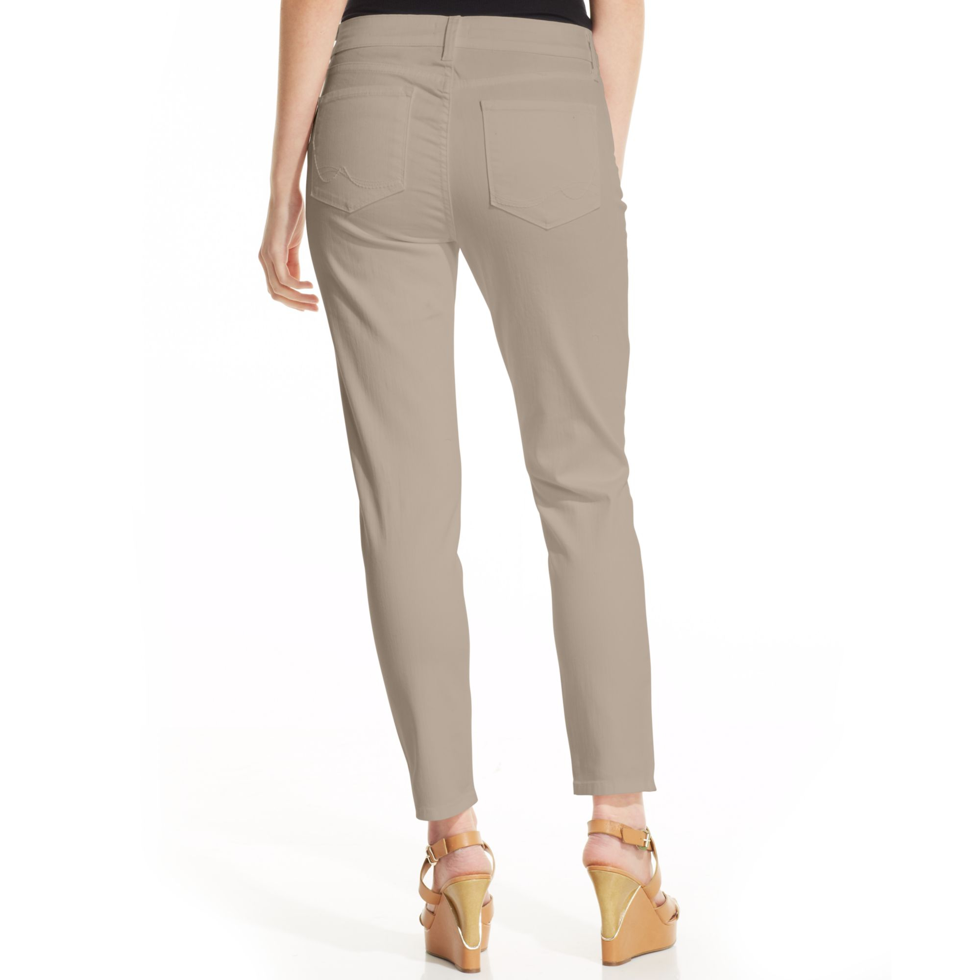 Nydj Petite Clarissa Skinny Colored Jeans in Natural | Lyst