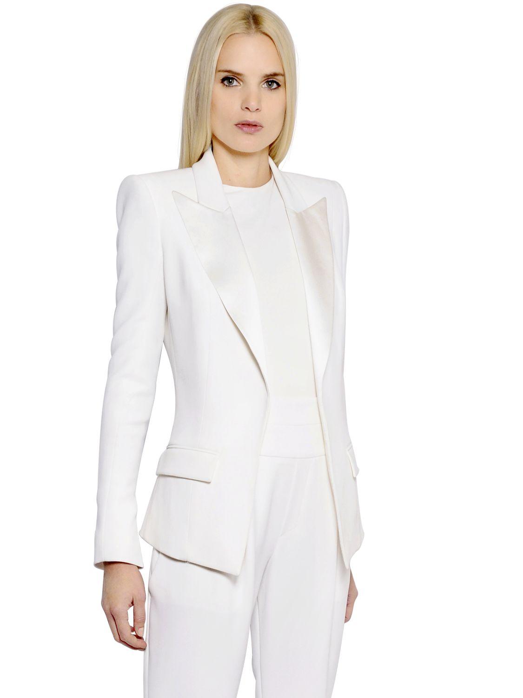 Lyst Alexandre Vauthier Viscose Blend Satin Jacket In White