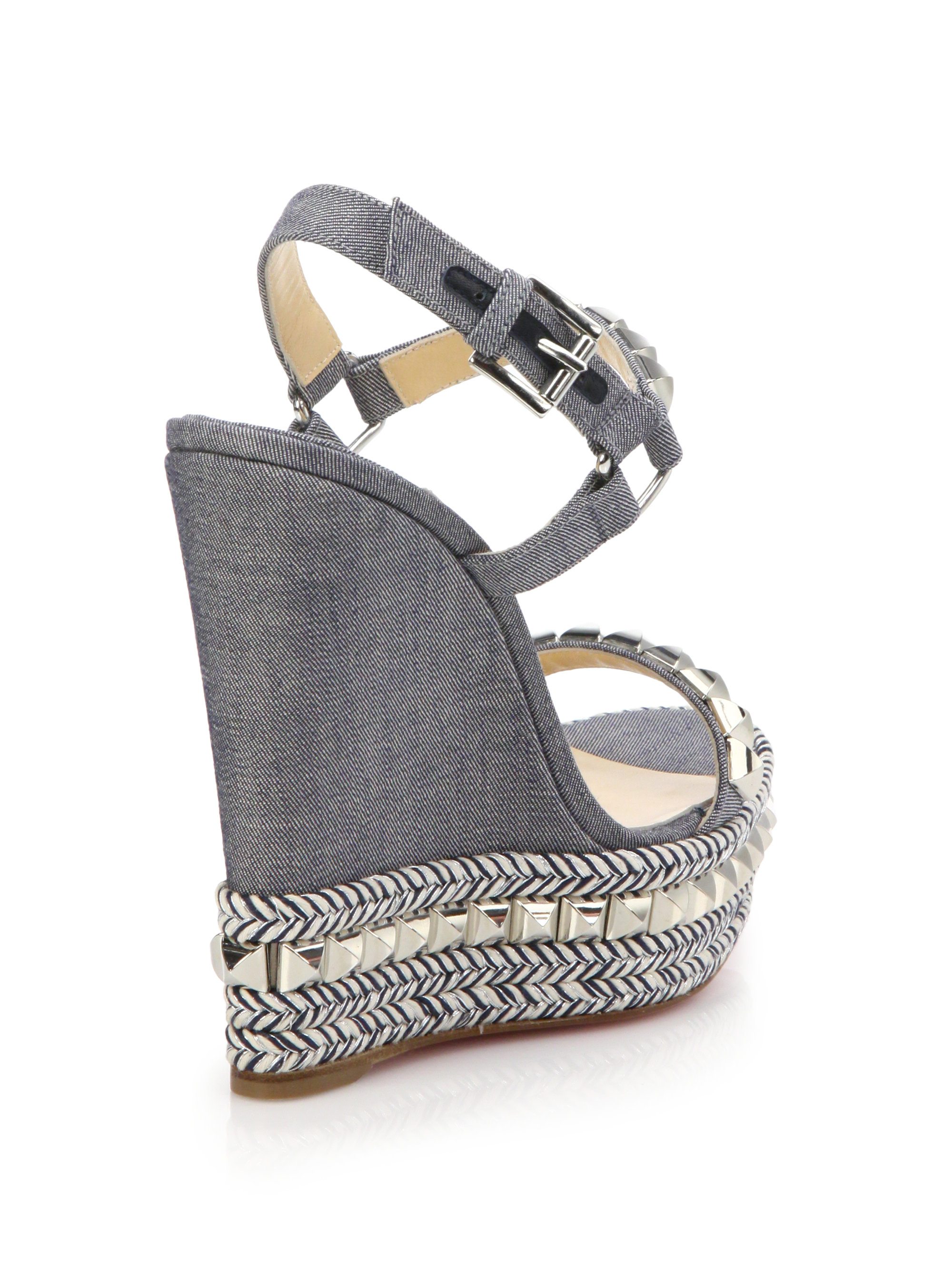 christian louboutin cataclou studded denim espadrille wedge sandals