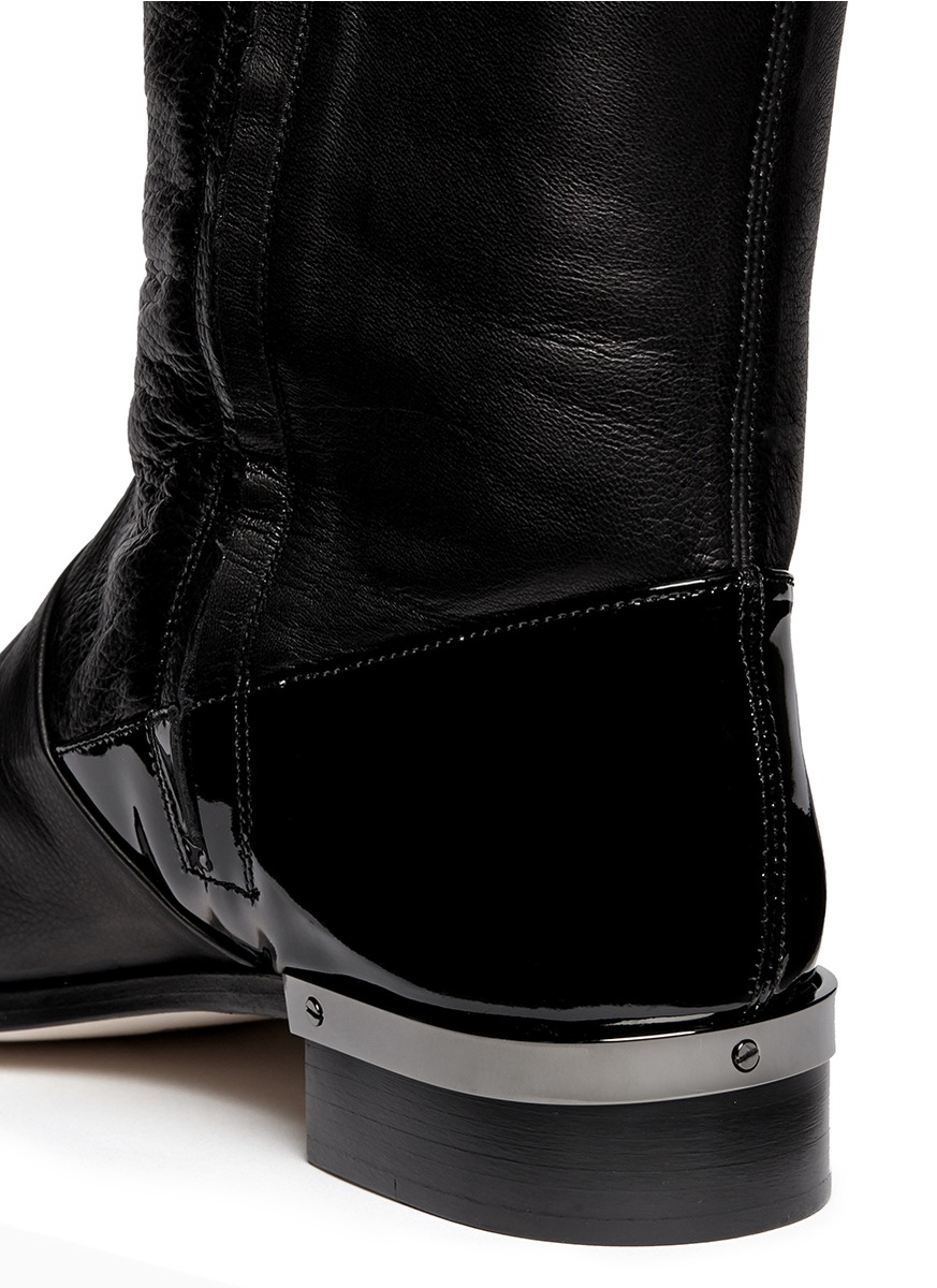 reed krakoff flat oxford patent trim leather boots in