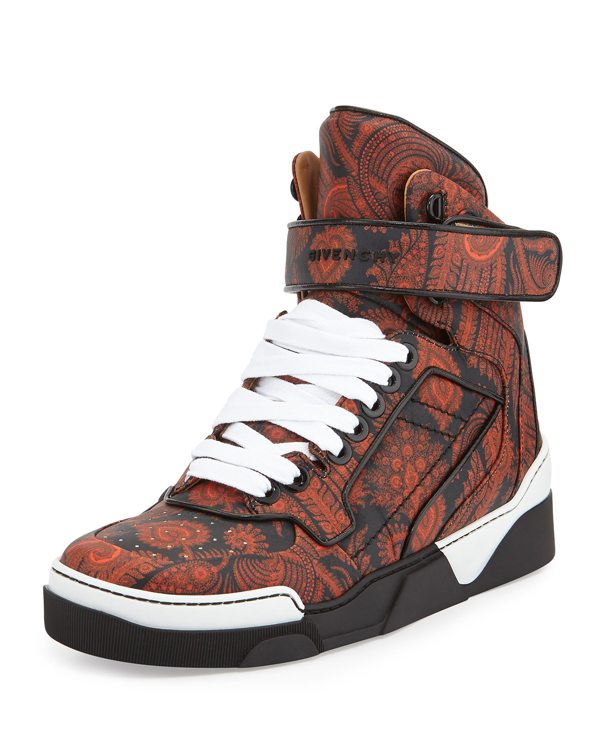 lyst givenchy tyson paisley print high top sneakers in black for men. Black Bedroom Furniture Sets. Home Design Ideas