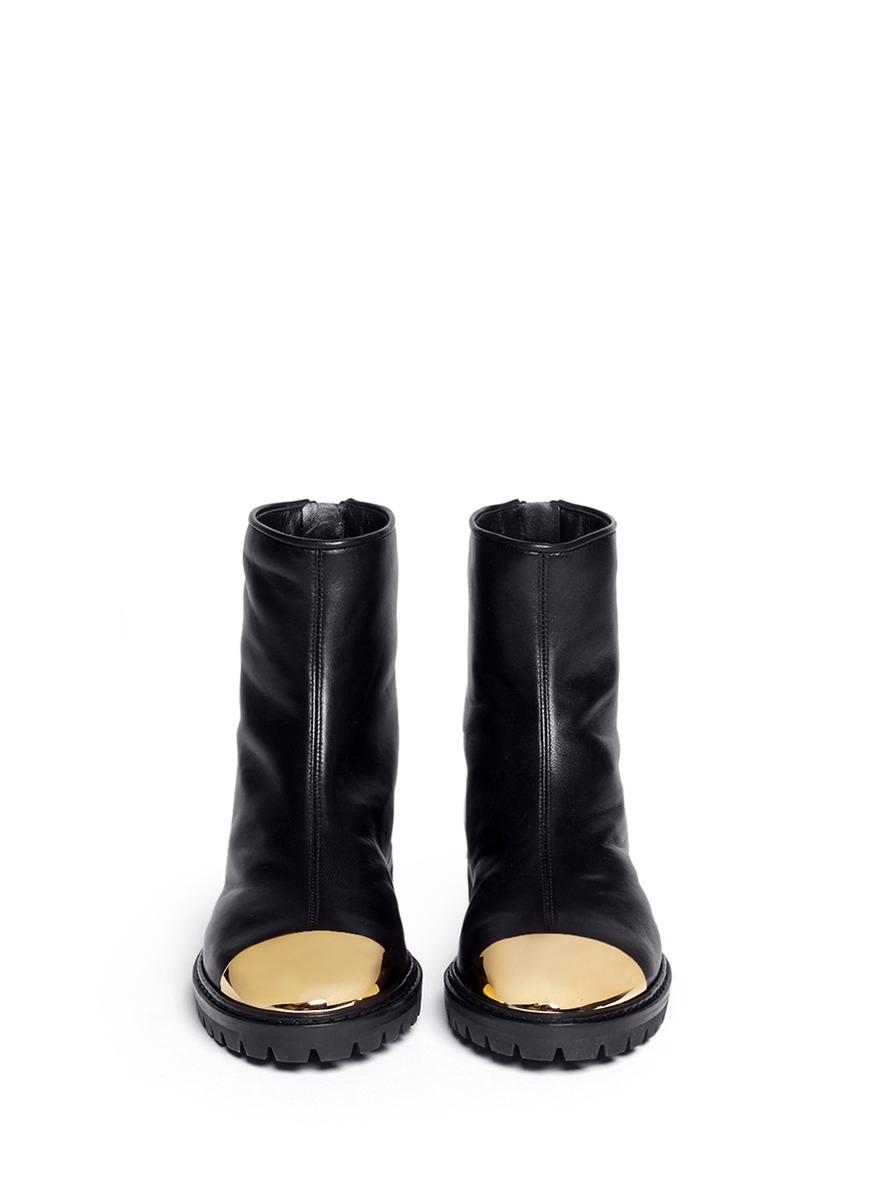 lyst giuseppe zanotti dalila metal toe cap leather