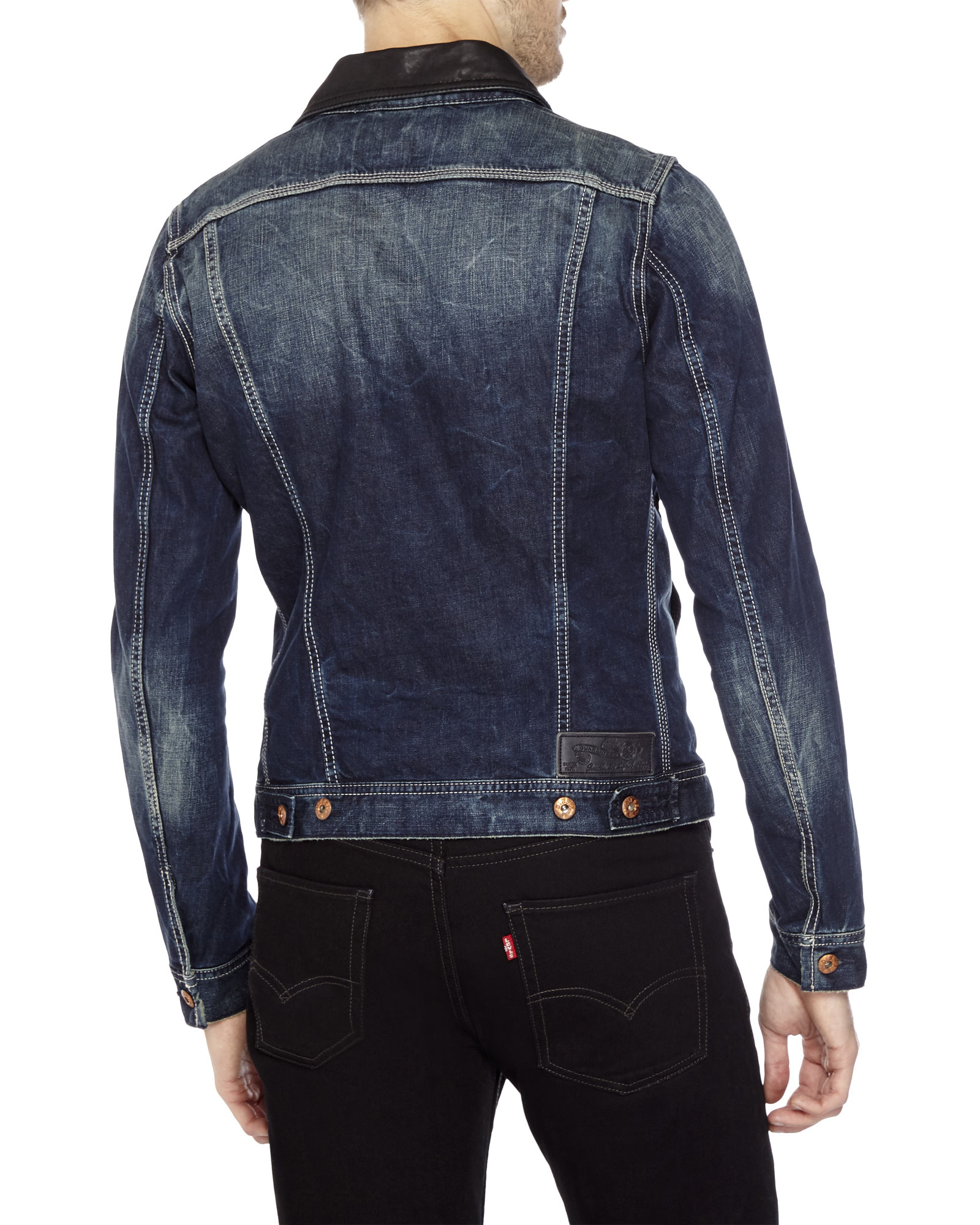 Diesel Elshar Leather Trim Denim Jacket in Blue for Men | Lyst