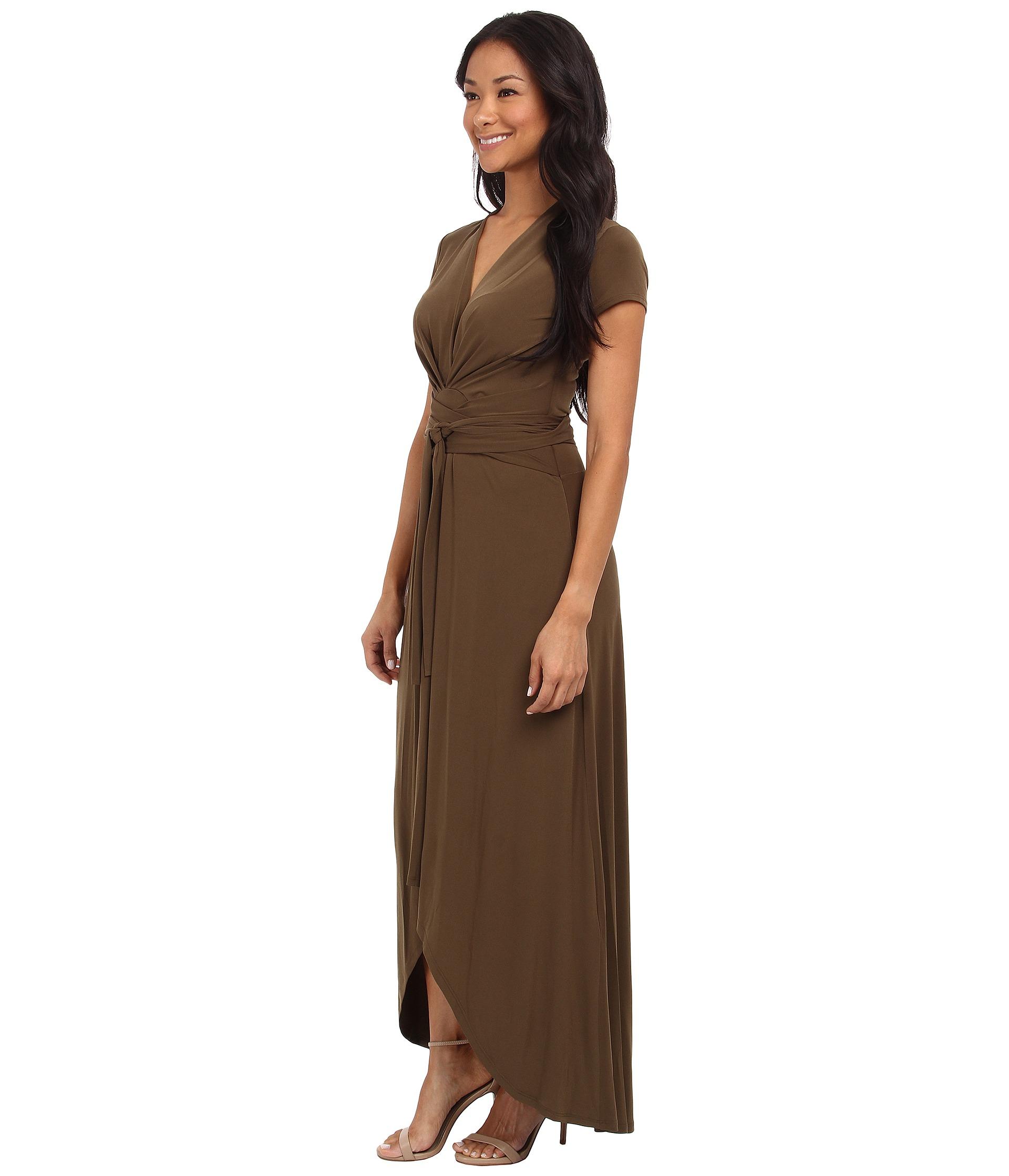 fa6ba635ebe MICHAEL Michael Kors Capsleeve Maxi Wrap Dress in Brown - Lyst