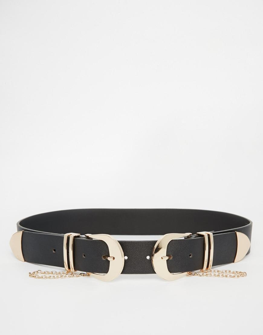 Double Buckle Western Belt With Chain Detail - Black Asos k43plIB