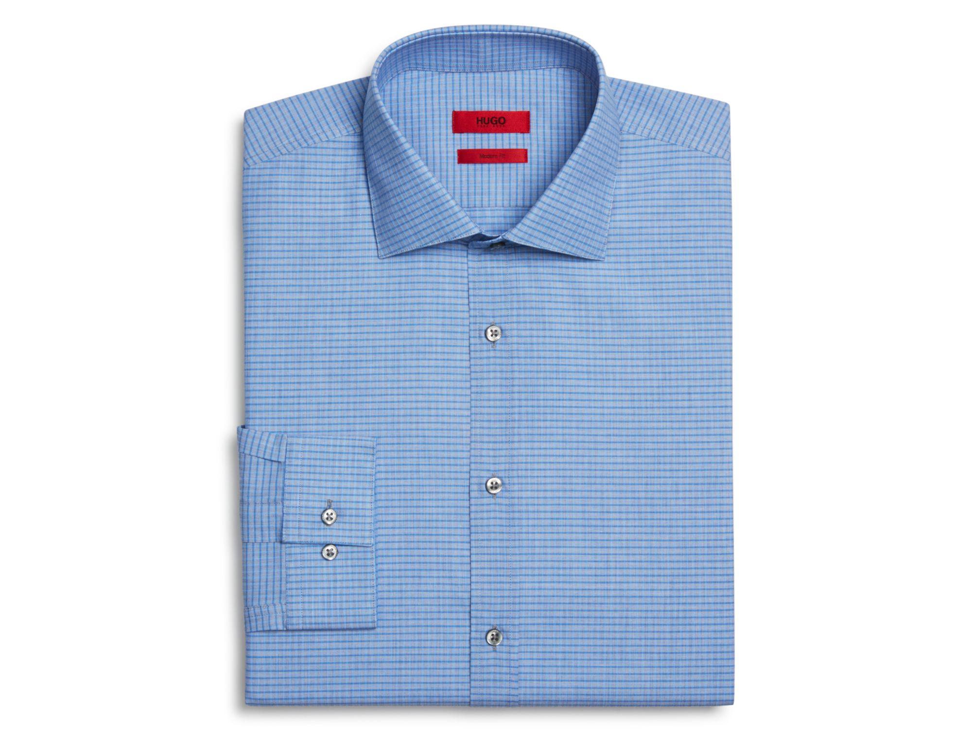 Boss hugo grid check slim fit dress shirt in blue for men for Hugo boss formal shirts