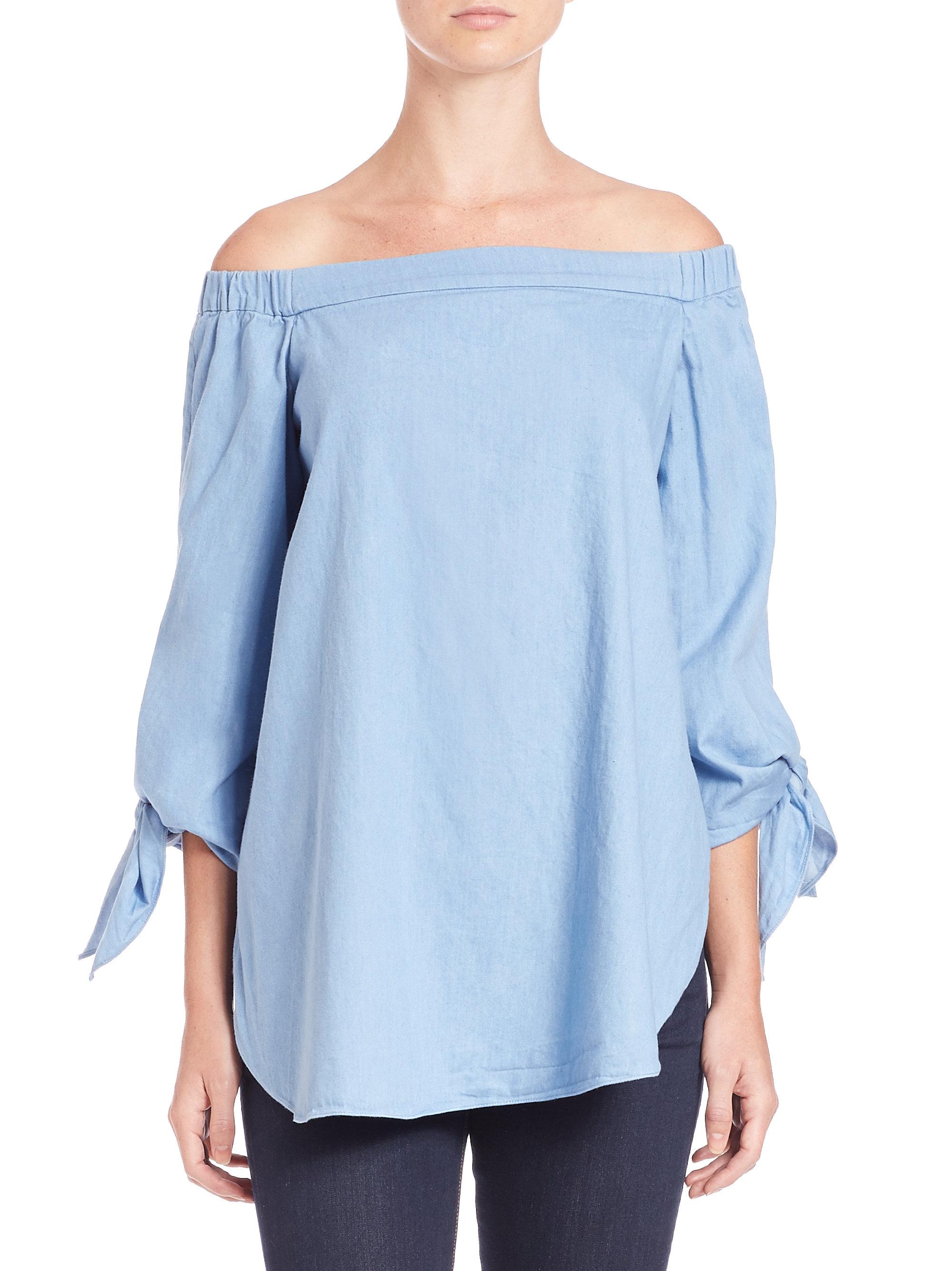 b00b9b60af68b Lyst - Tibi Cotton Poplin Off-the-shoulder Tunic in Blue