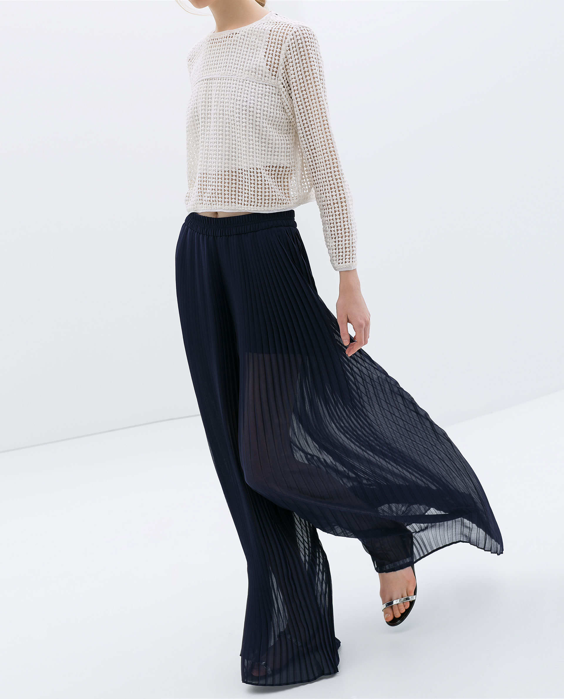 Zara Pleated Bell Bottom Trousers in Blue | Lyst