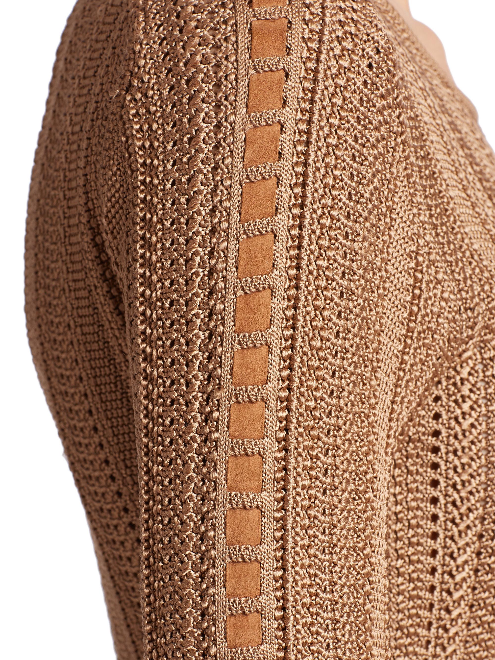 Lyst Ralph Lauren Suede Trimmed Silk Knit Dress In Brown