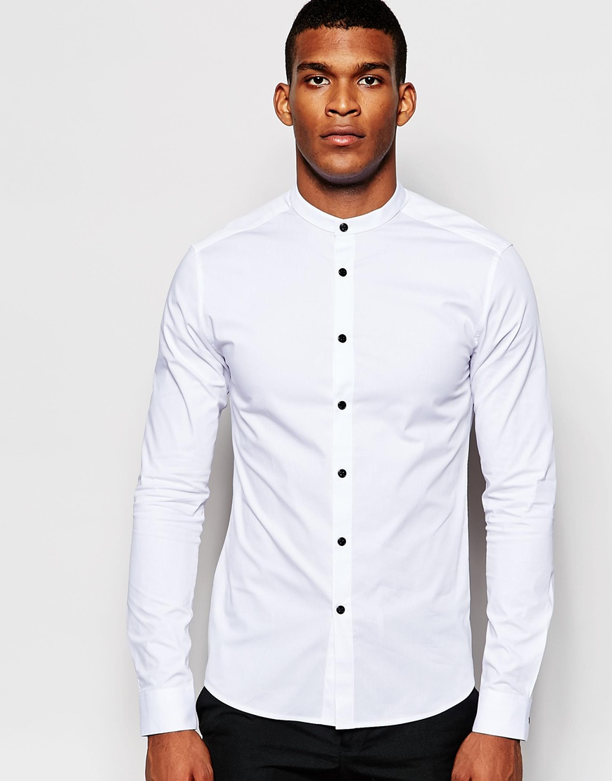 Lyst - ASOS Skinny Fit Shirt With Contrast Buttons And Grandad ... f0c580695