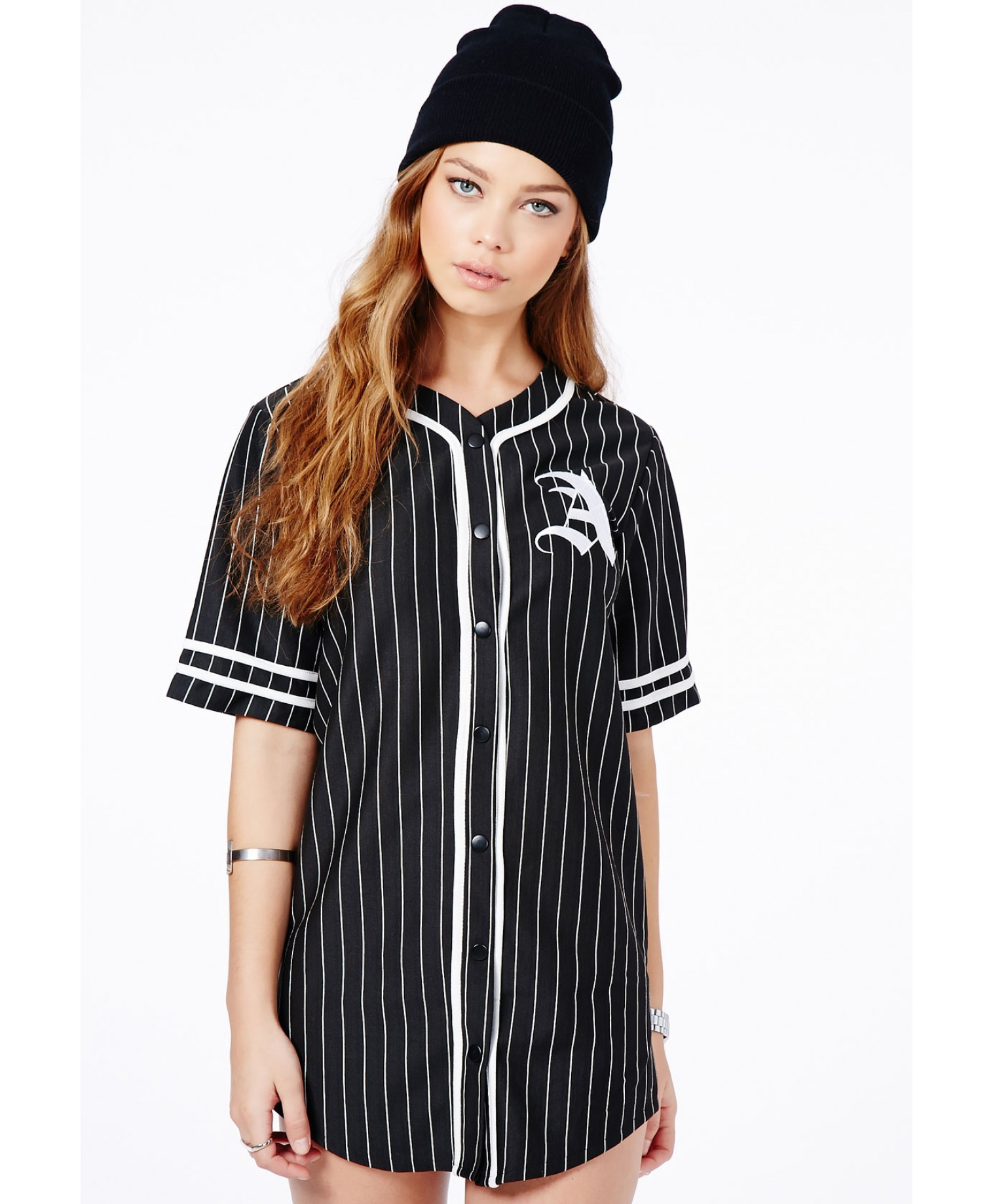 Missguided Paris Oversized A Baseball Shirt Dress In Black In Black