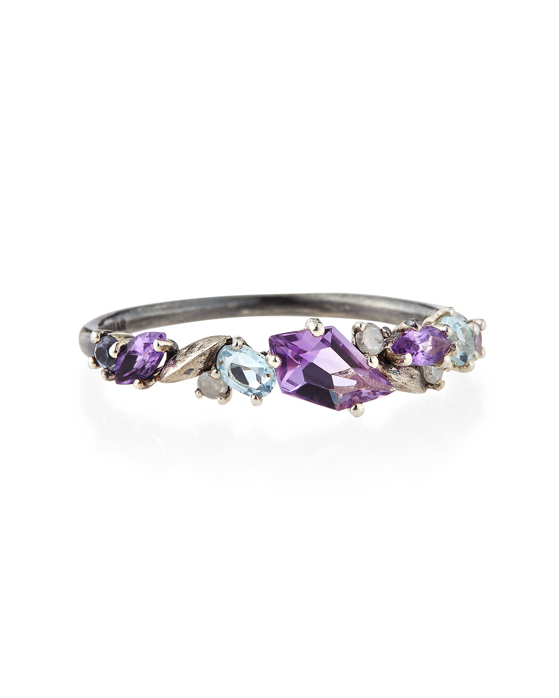 Alexis Bittar Fine Silver Amethyst Sapphire Diamond