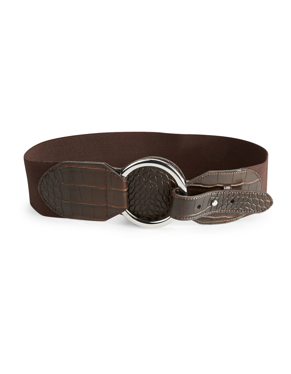 by ralph faux leather stretch belt in brown