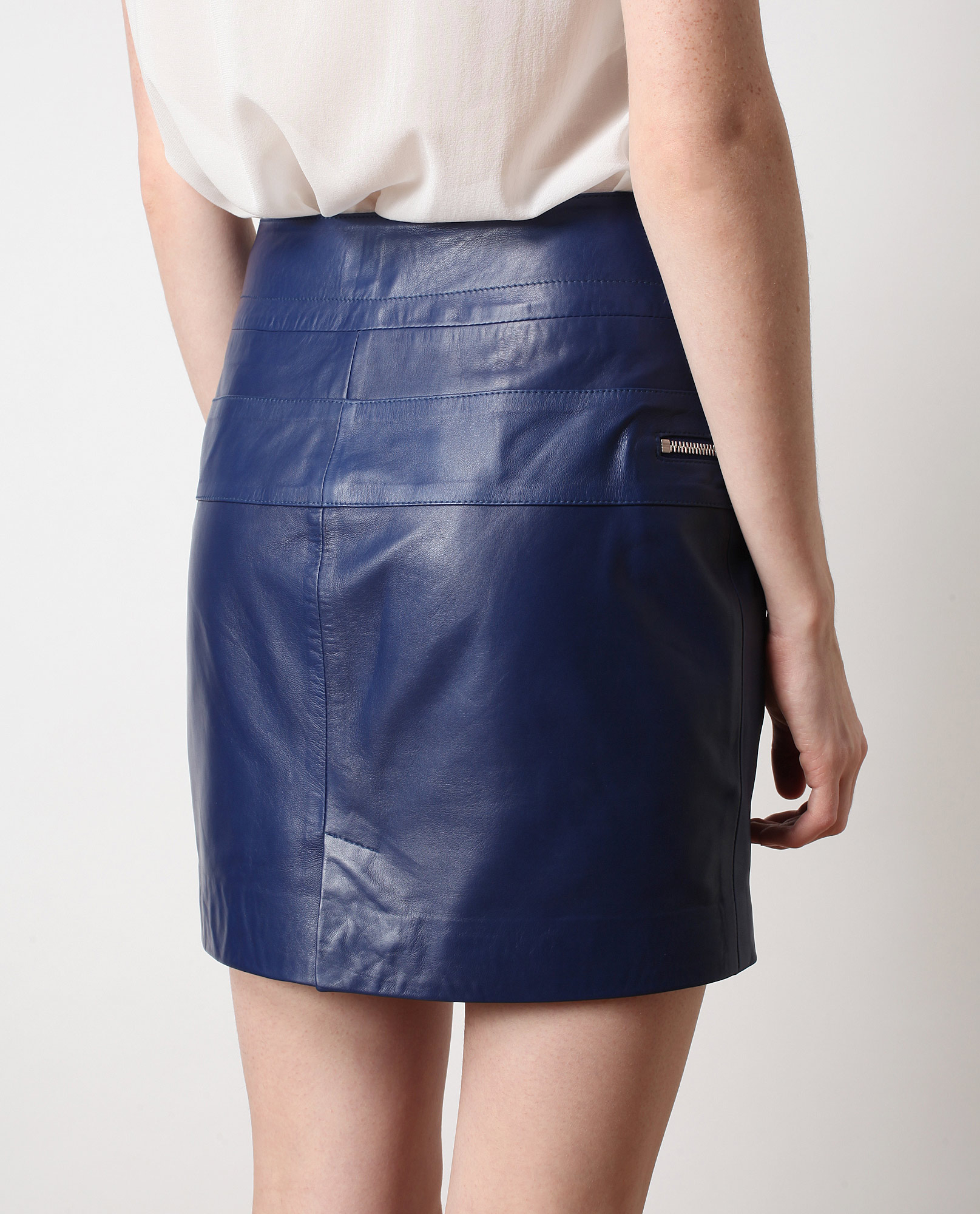 Mcq Zip Detail Leather Mini-skirt in Blue | Lyst