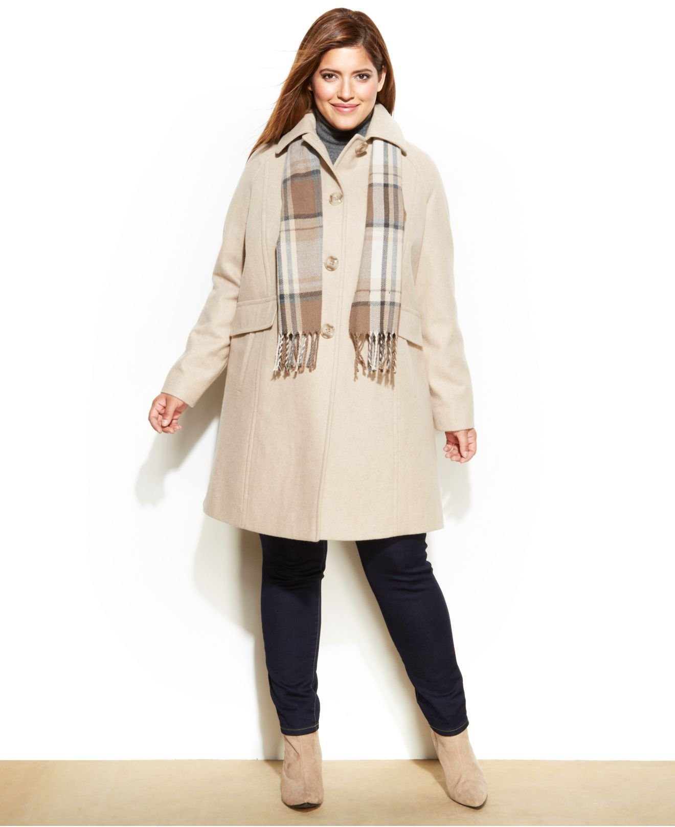 London fog Plus Size Wool-Blend Car Coat & Scarf in Natural | Lyst