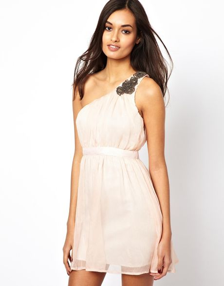 Ax Paris One Shoulder Prom Dress in Beige (Nude)