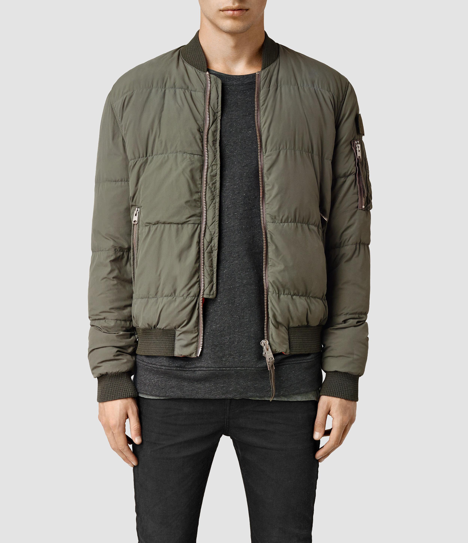 allsaints furlough bomber jacket usa usa in natural for men lyst. Black Bedroom Furniture Sets. Home Design Ideas