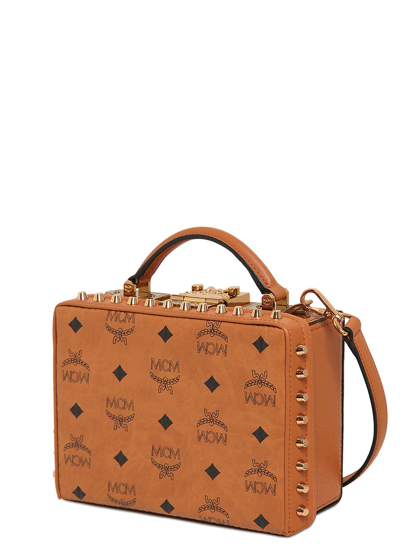 mcm berlin box leather shoulder bag in orange lyst