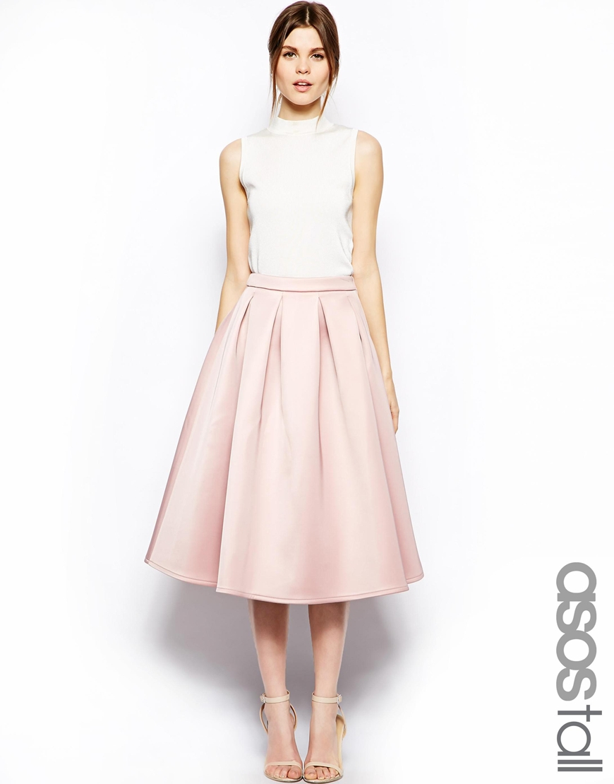 Pale Pink Pleated Midi Skirt - Dress Ala