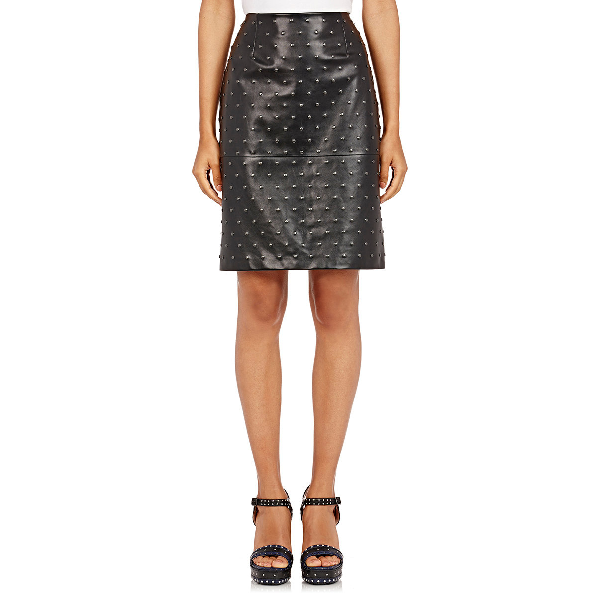 lanvin s studded leather skirt in black lyst