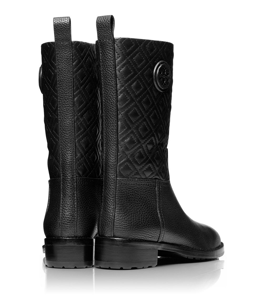 Tory burch Marion Quilted Bootie in Black | Lyst : tory burch quilted boots - Adamdwight.com