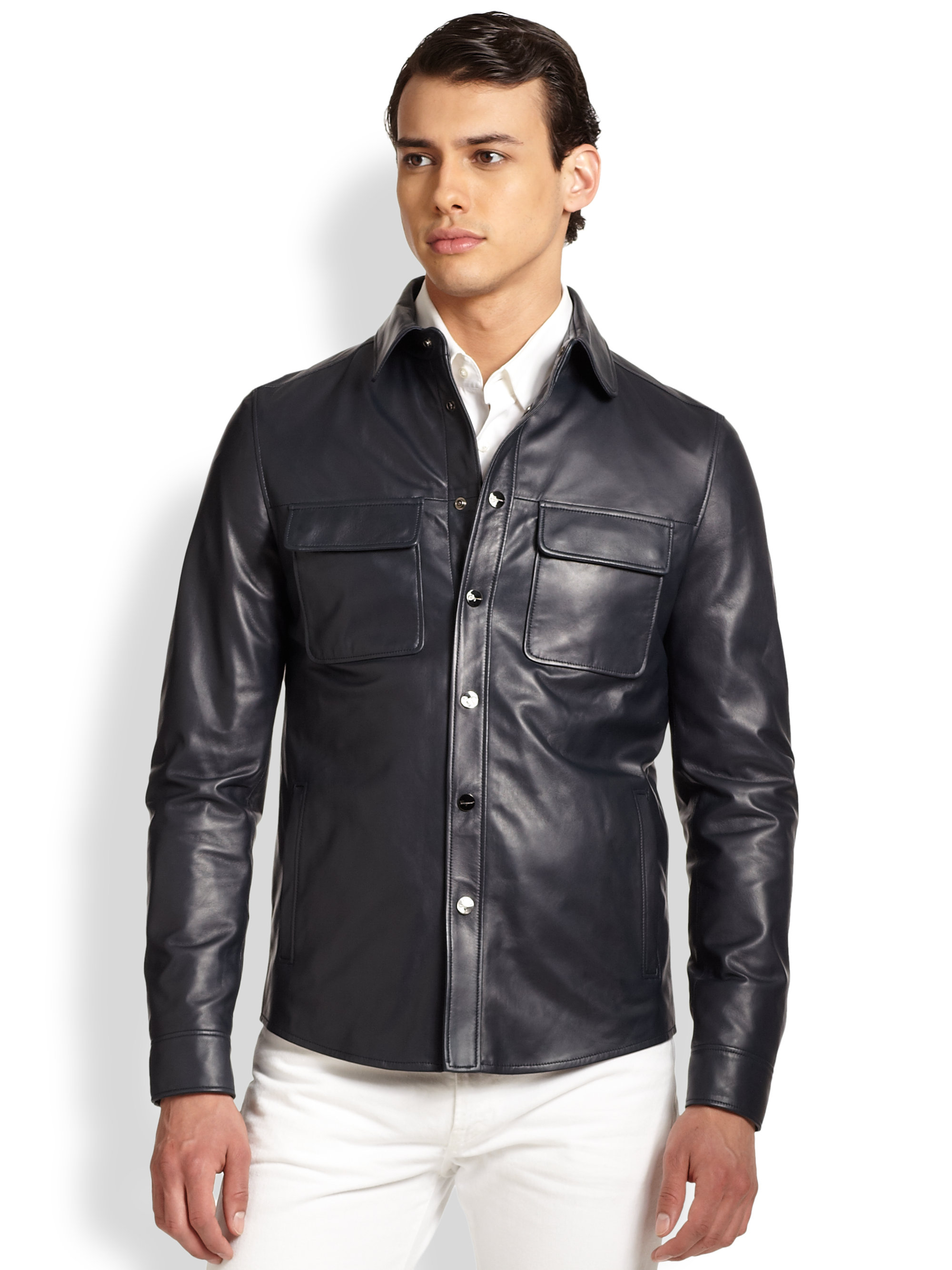Ferragamo leather shirt jacket in black for men lyst for Leather jacket and shirt