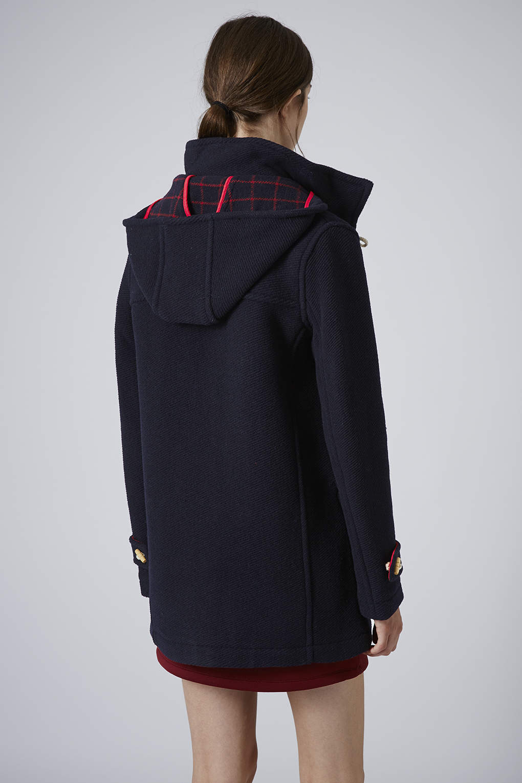 Topshop Bound Seam Wool Duffle Coat in Blue   Lyst