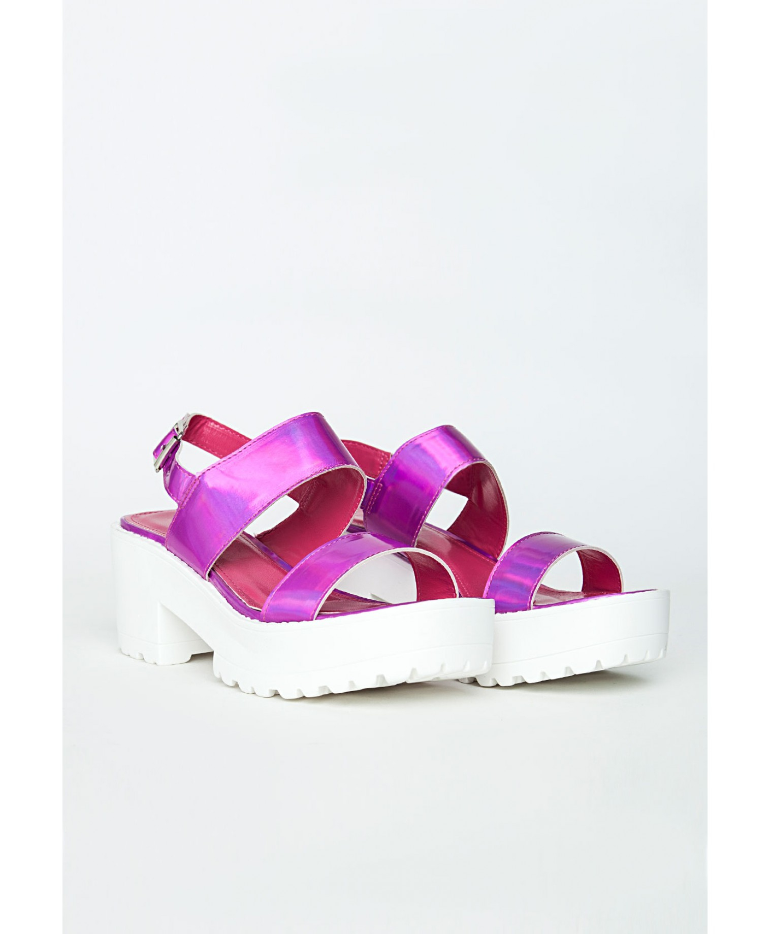 21863171e86 Lyst - Missguided Waverly Pink Holographic Platform Sandals in Pink