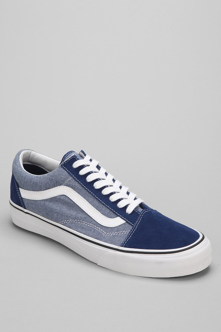 lyst vans old skool suede chambray mens sneaker in blue. Black Bedroom Furniture Sets. Home Design Ideas