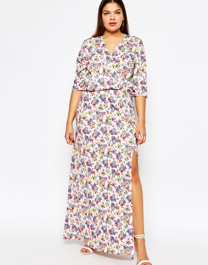 1d0ca31b43e61 Club L Plus Size Maxi Dress With Wrap Front In Ditsy Floral Print - Lyst