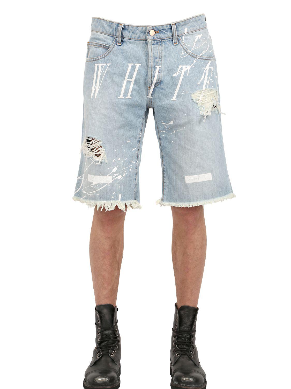 Off-white c/o virgil abloh Splatter Painted Cotton Denim Shorts in ...