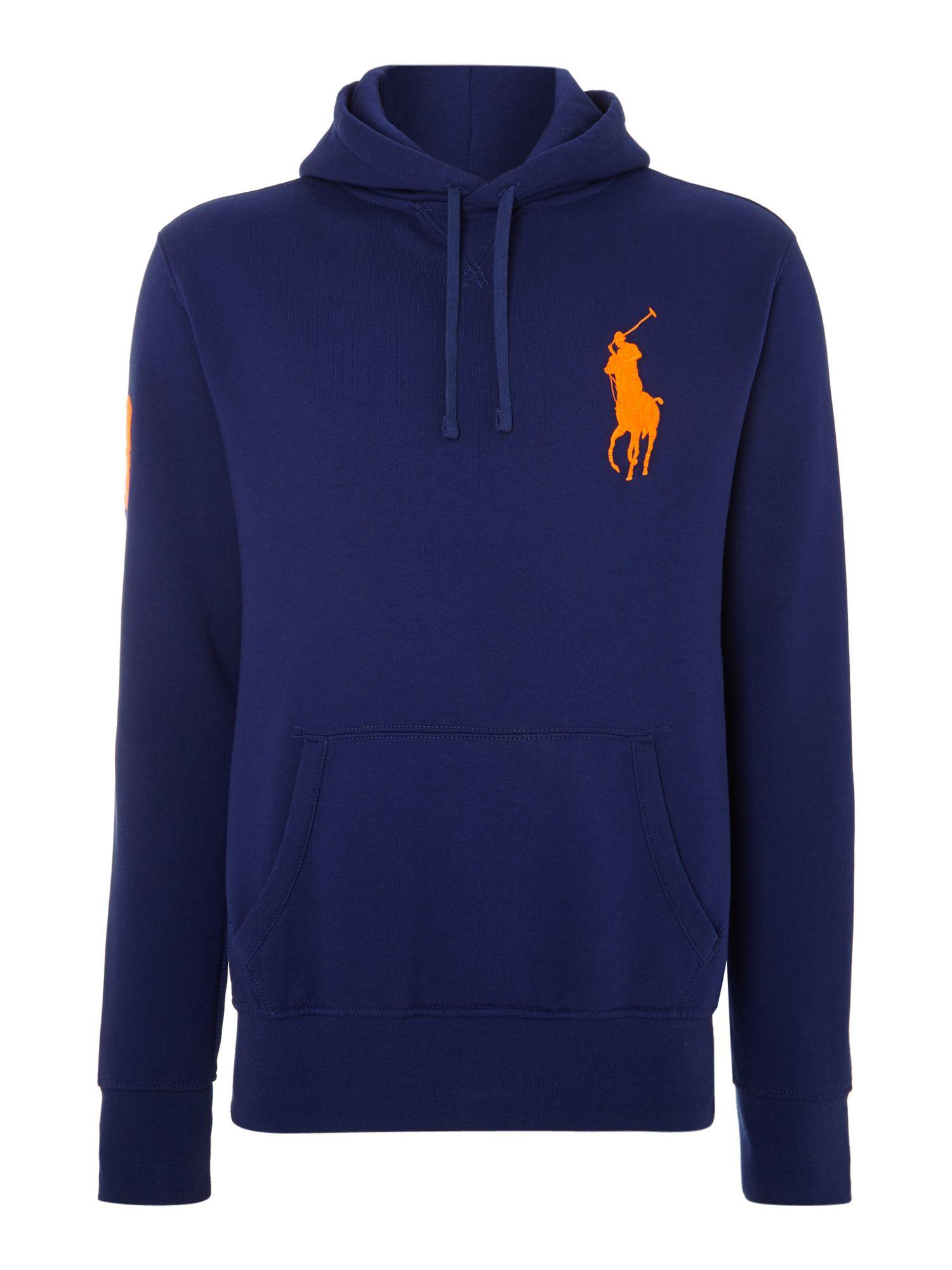 Polo Ralph Lauren. Blue Big Pony Player Fleece Hooded Sweatshirt