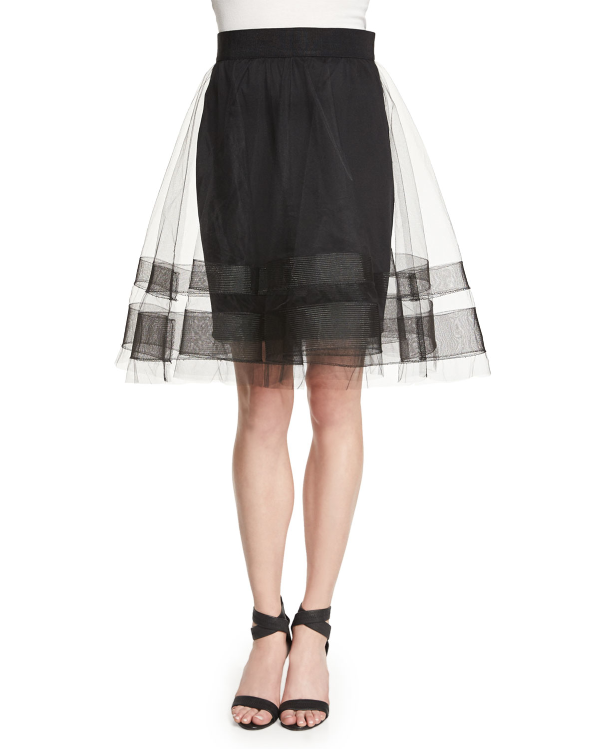 milly tulle midi skirt in black lyst