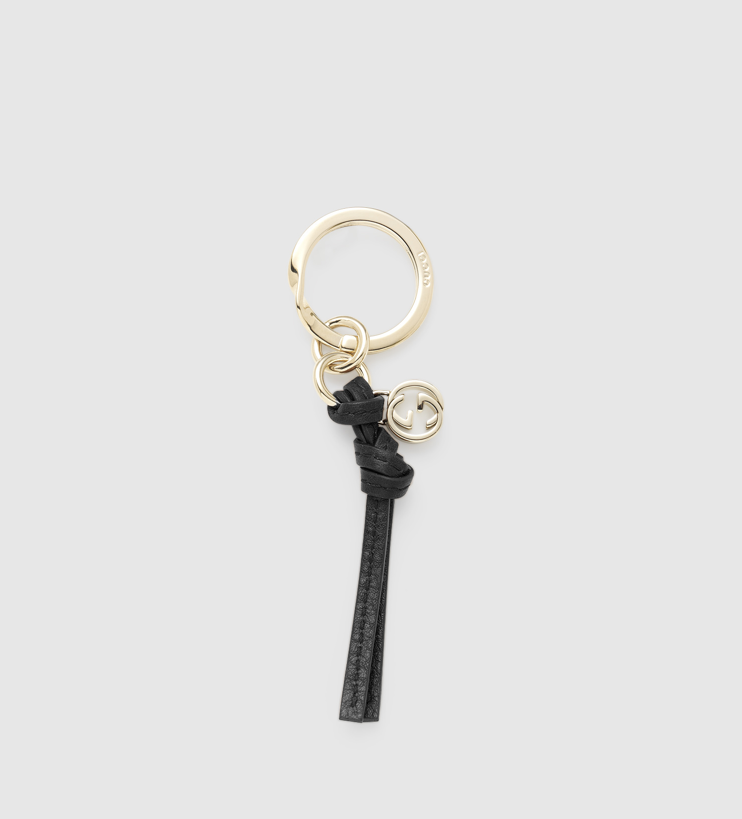 fa870e8432a Lyst - Gucci Black Leather Key Ring in Black