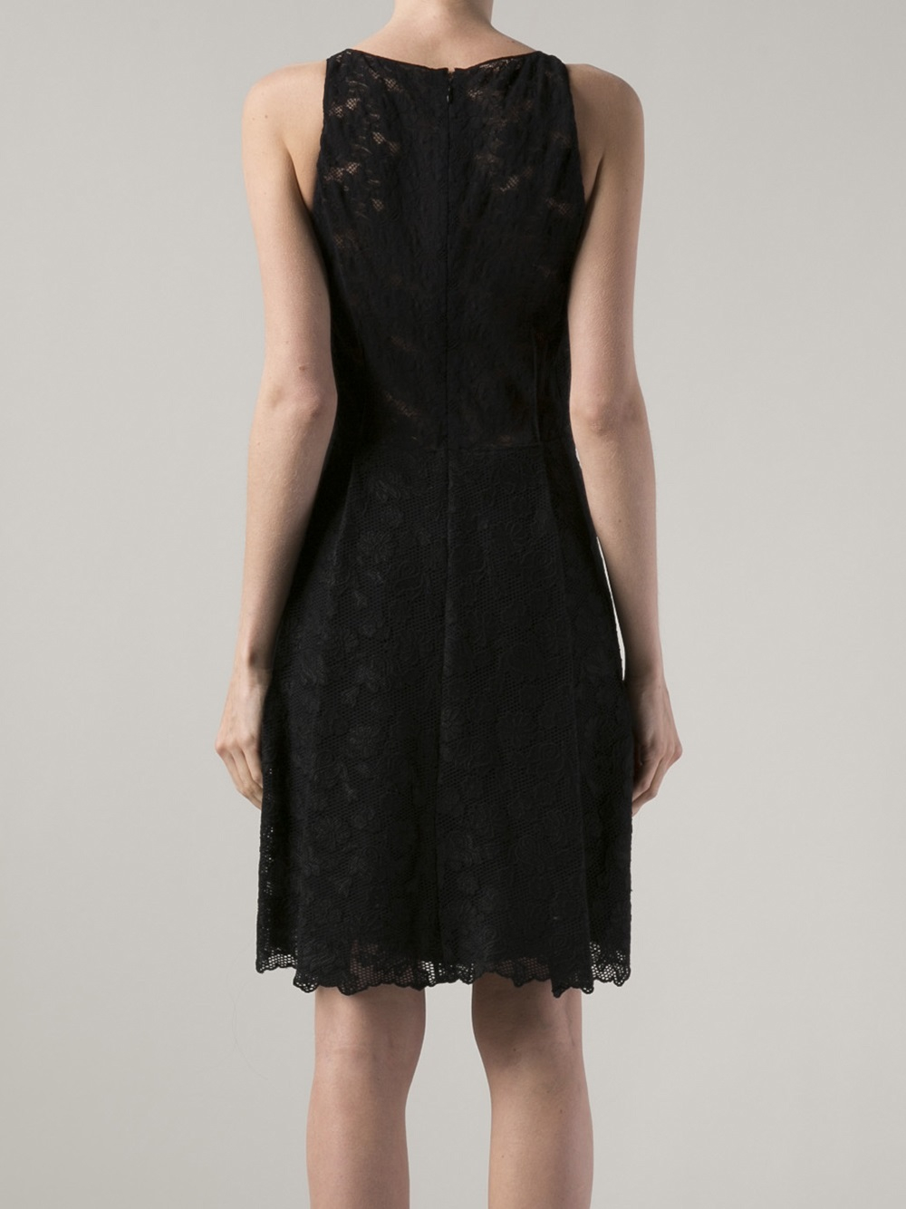 lyst nina ricci sleeveless lace dress in black
