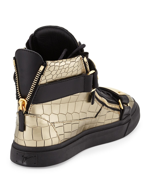 Giuseppe Zanotti Mens Faux-Croc High-Top Sneaker In