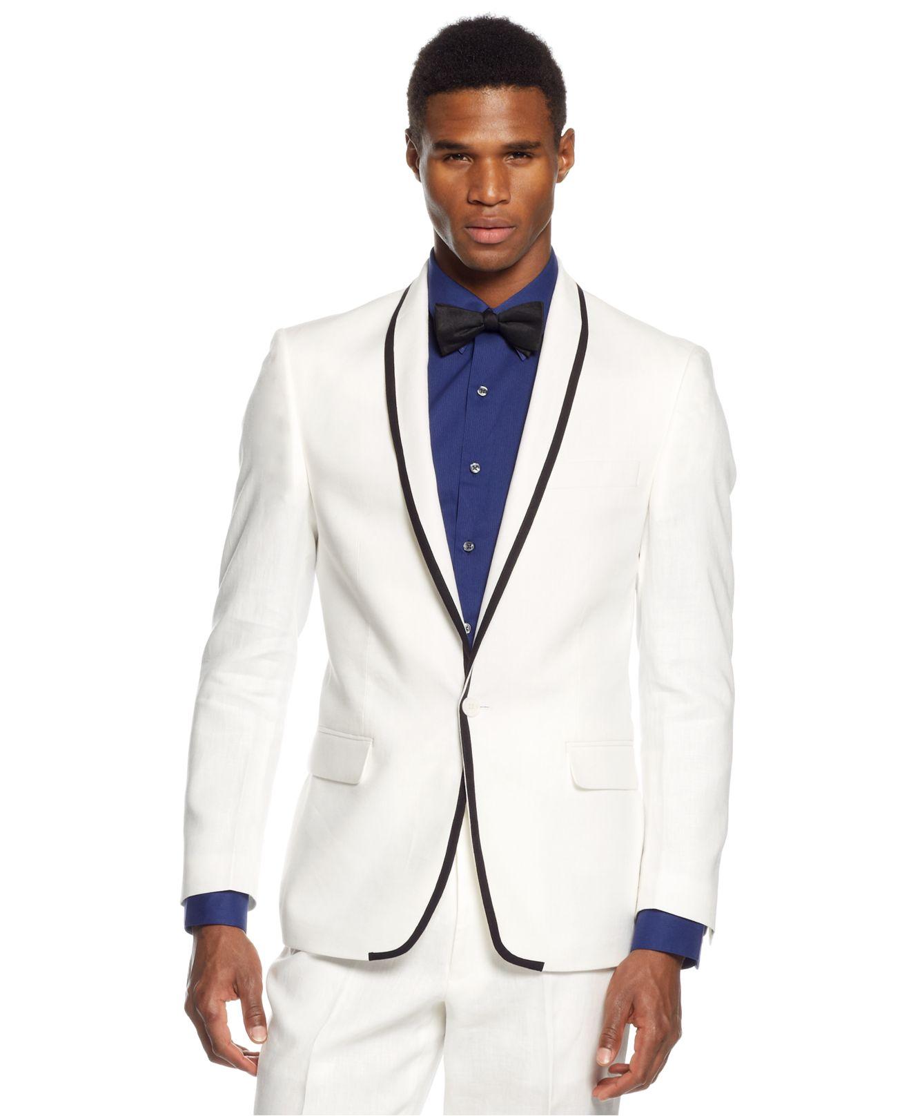Sean john White Linen Blazer in White for Men | Lyst
