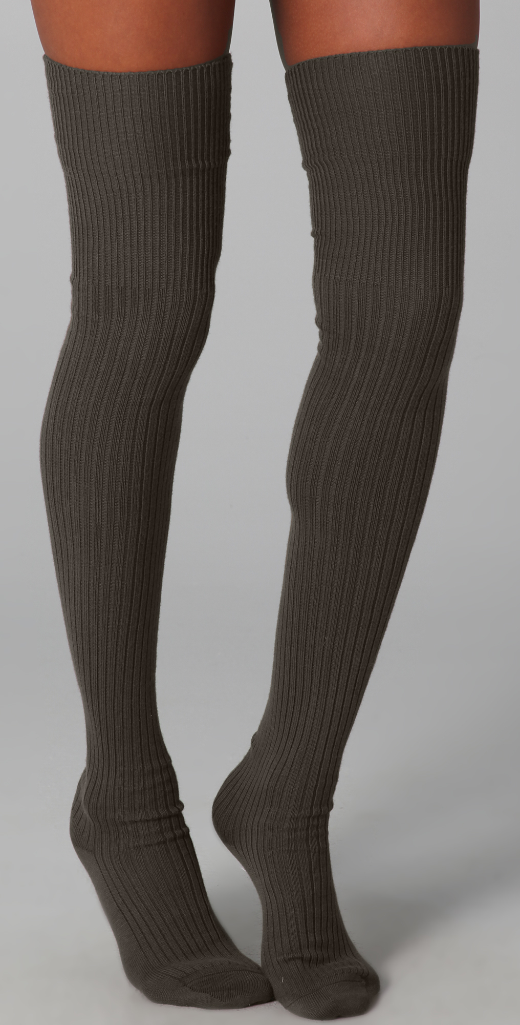 5c7426f593a Falke Striggings Ribbed Over The Knee Socks in Green - Lyst