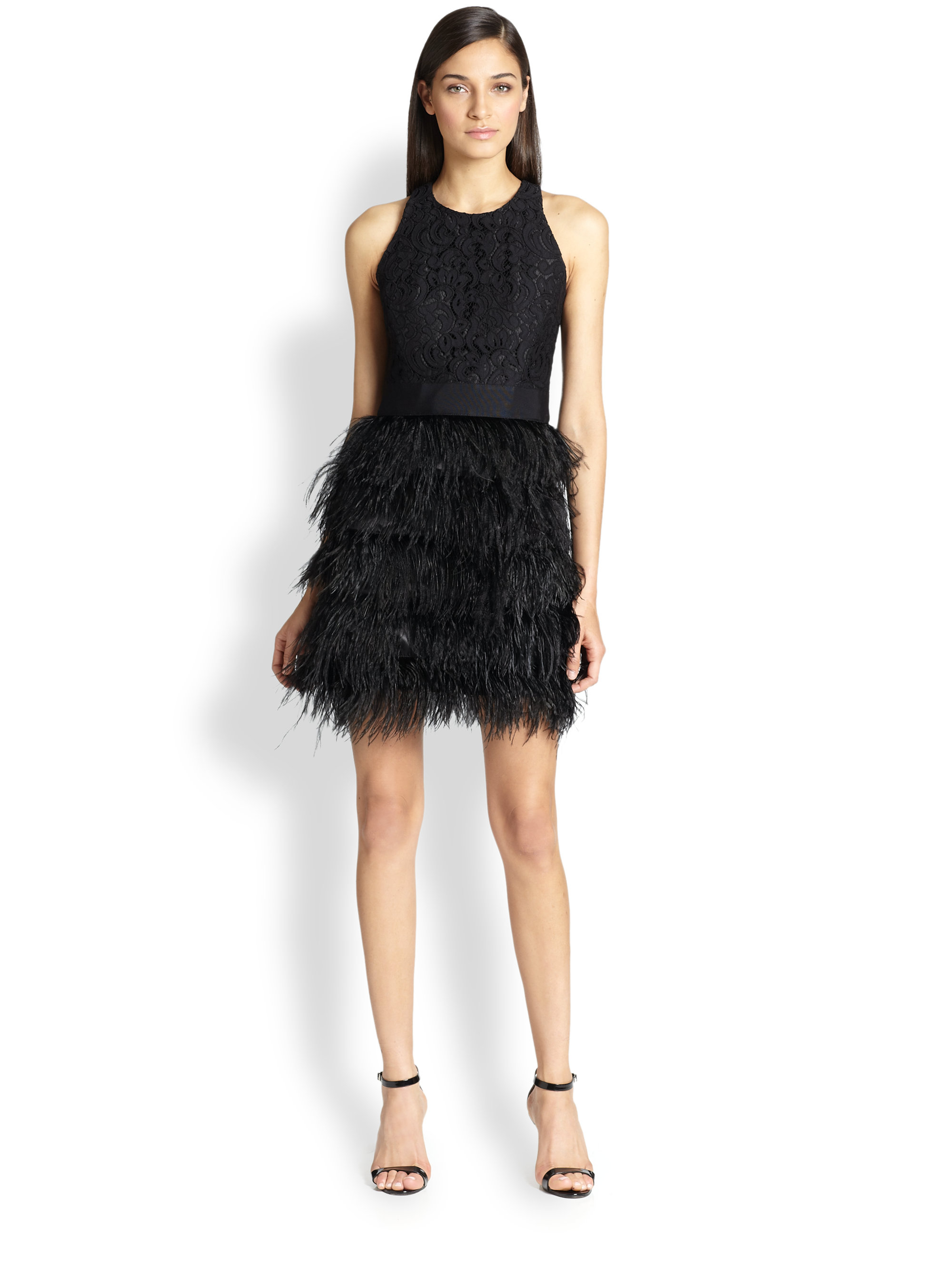 Milly Blair Lace Amp Feather Dress In Black Lyst