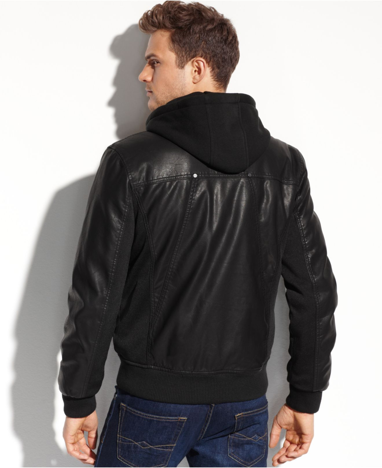 Lyst Guess Faux Leather Hooded Bomber In Black For Men