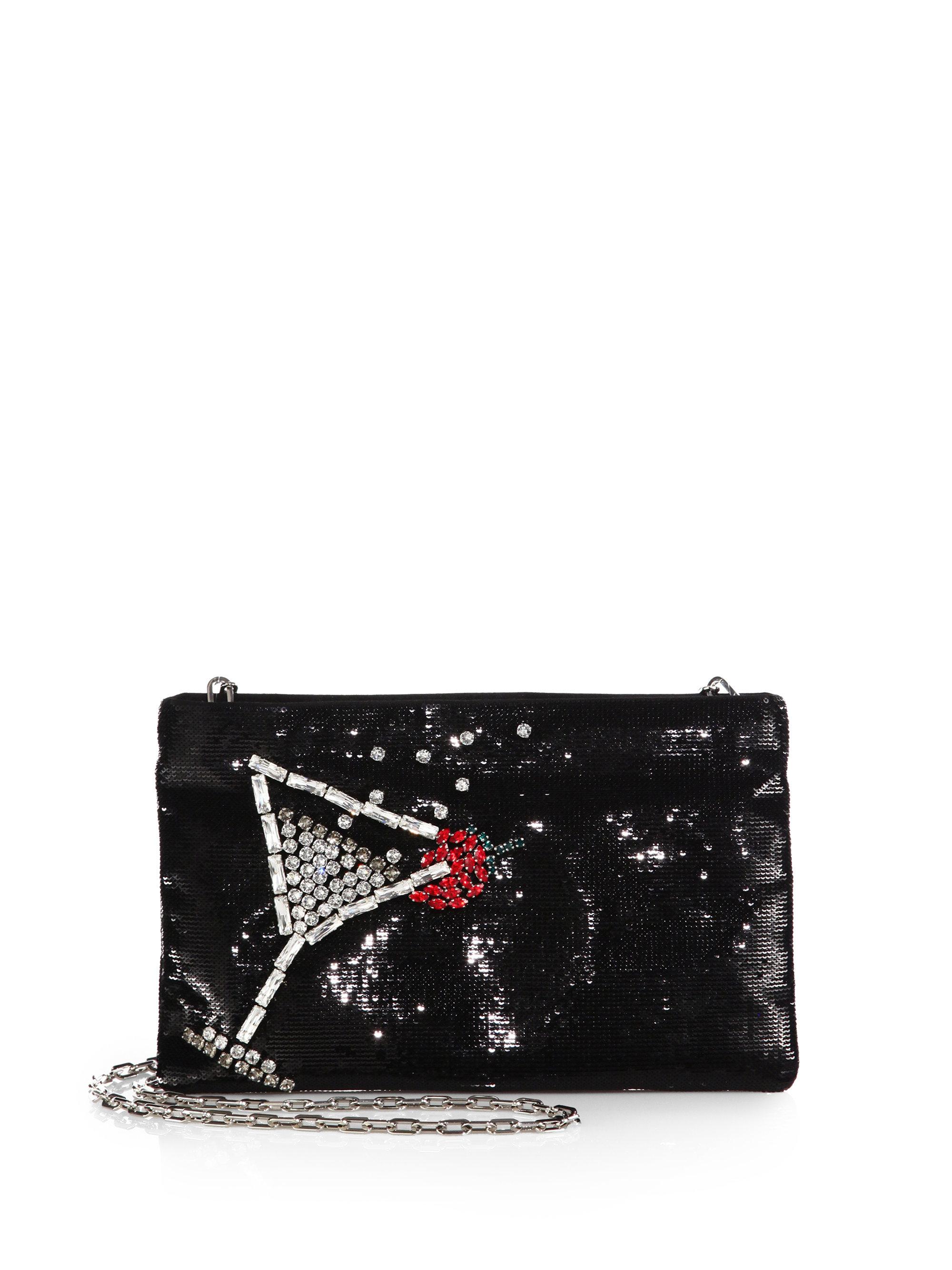 leather prada backpack - Prada Sequin Lips Pochette in Black (BLACK-RED) | Lyst
