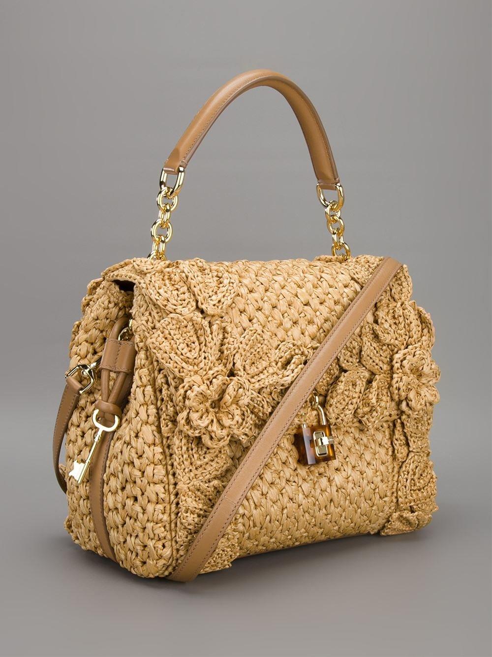 Dolce gabbana 39 sicily 39 raffia handbag in natural lyst for Schemi borse uncinetto