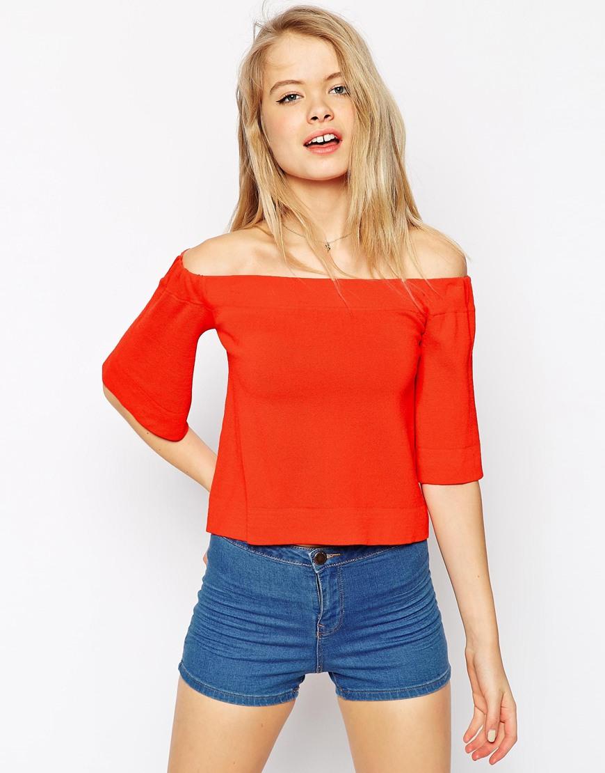 Orange Top With Umbrella Sleeves The Vanca: Asos Off Shoulder Top In Structured Knit In Orange